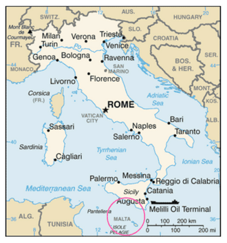 Map showing the location of Malta.